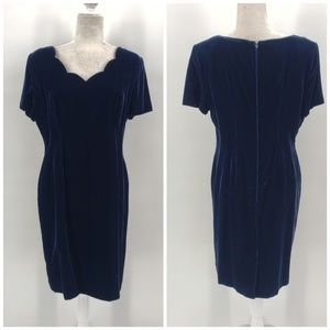 Vintage Ann Taylor blue velvet party dress Sz 12